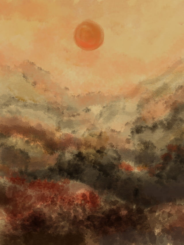 Retro Smoky Ink Painting Sunset Dusk Background Illustration Simple Chinese Style Landscape Background Image For Free Download