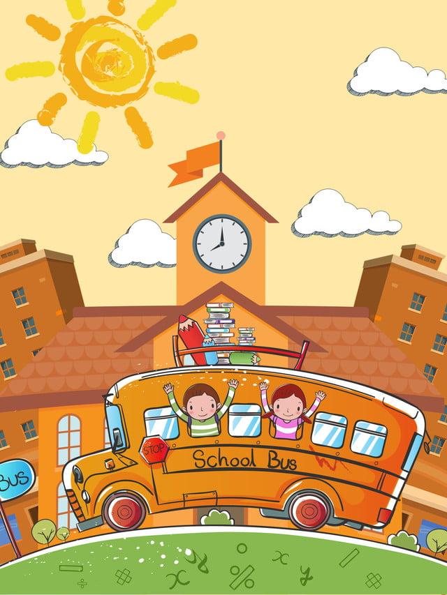 Fond De Publicité Autobus Scolaire Dessiné Main Simple Fond