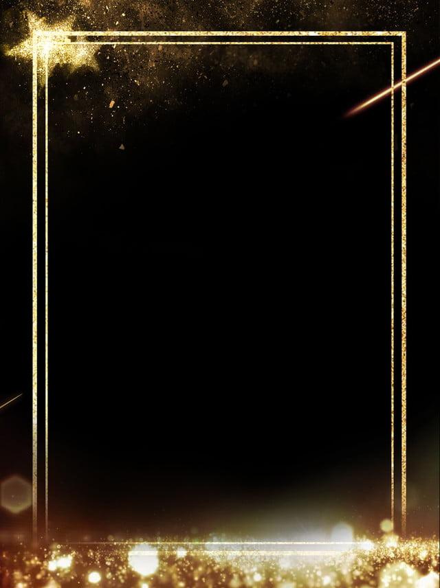 Simple Light Effect Stars Black Gold Border Background