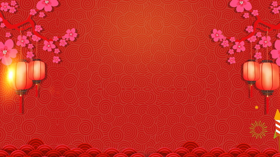 Simple Traditional Plum Lantern Chinese New Year Background, Red