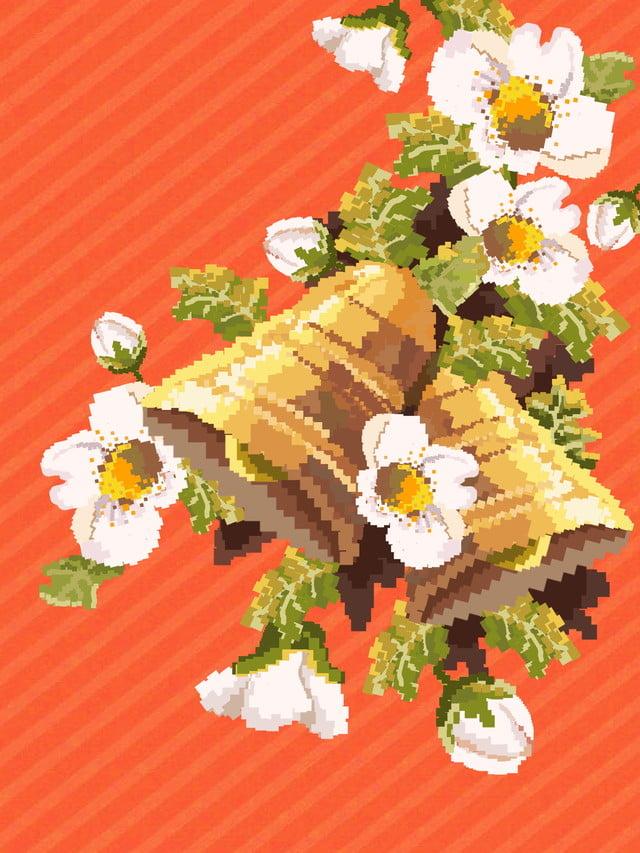 Christmas Leaflet Background.Vintage Pixel Style Christmas Leaflet Background Retro