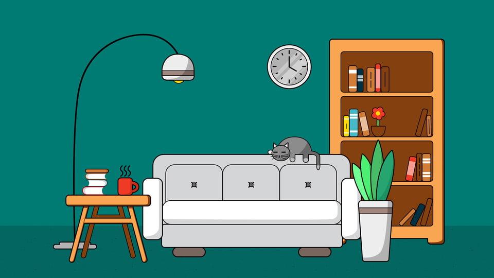 Fondo de dibujos animados sof blanco debajo la l mpara - Sofas para habitacion ...