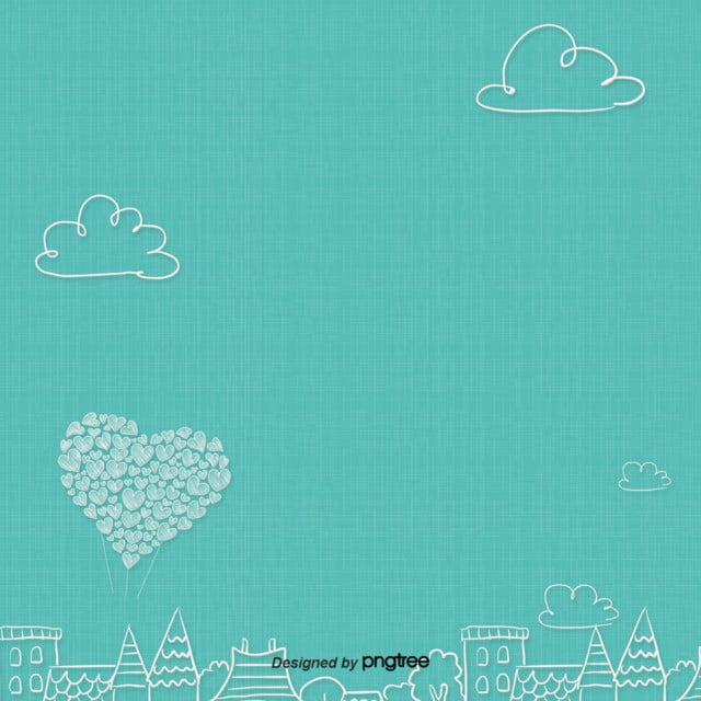 جمالية الحب رسمت خلفية بالون الأزرق جمالية رسمت باليد بالون صورة