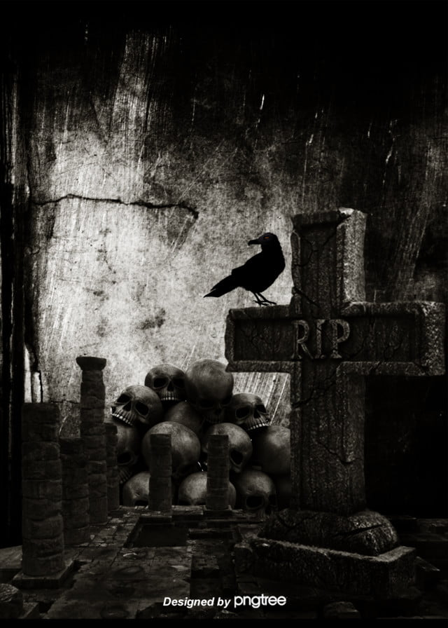 Dark Tombstone Skull Raven Gothic Background Crow Dreadful Gothic Background Image For Free Download