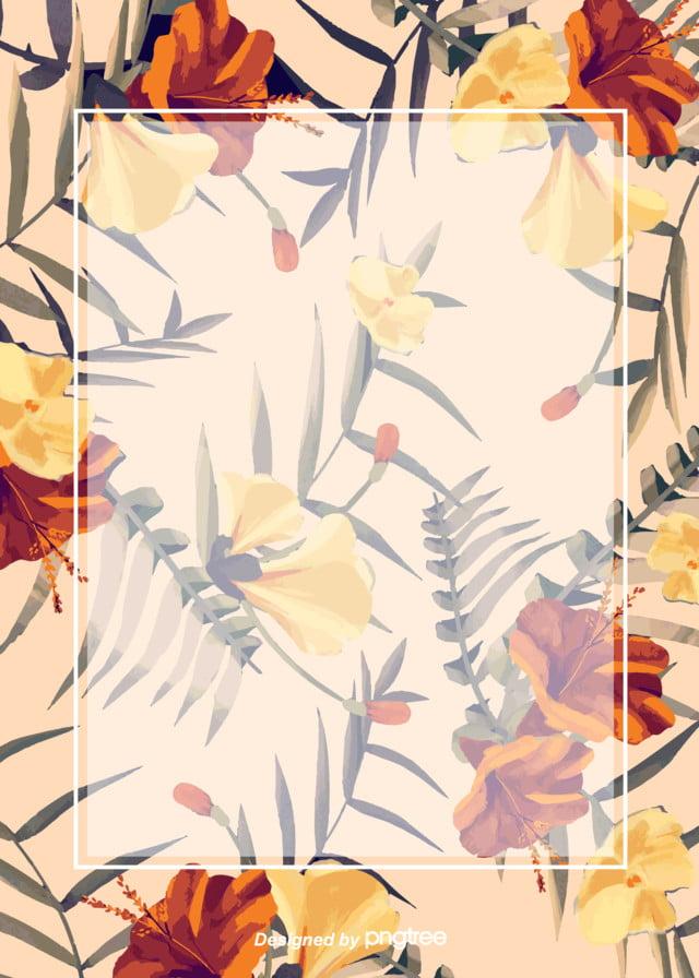 Primavera I Fiori In Stile Retrò Sfondo Giallo Le Foglie Vintage