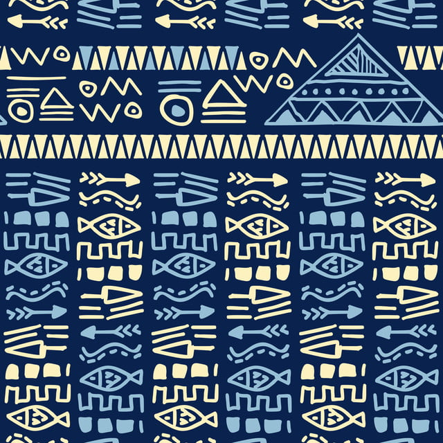 Blue Hand Drawn Ethnic Tribal Aztec Style Seamless Pattern