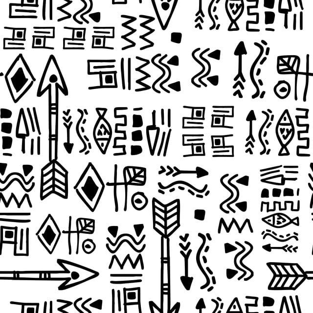 Ethnic Dibujado A Mano Con Antiguos Mayas Aztecas Sin Patron De