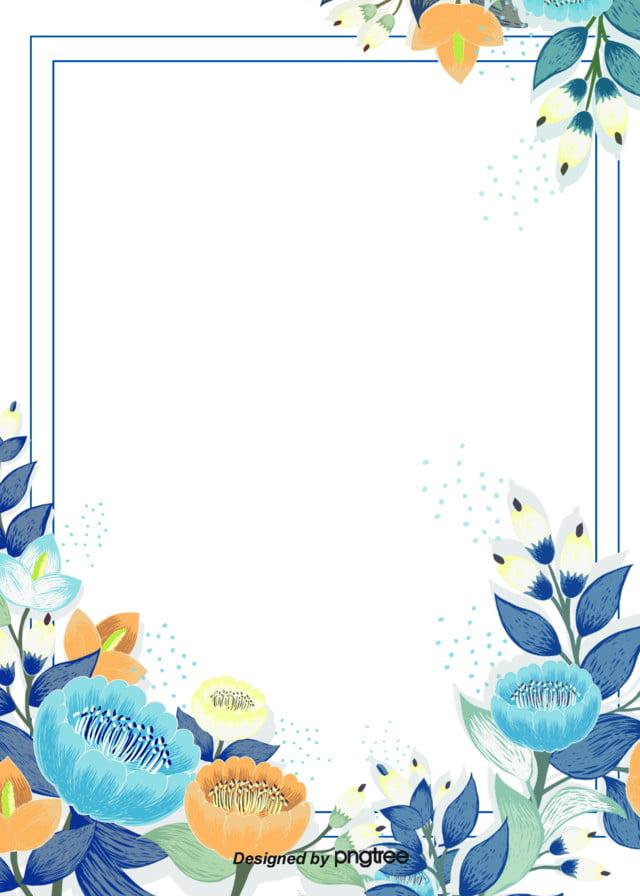 Lukisan Tangan Minimalis Musim Semi Bunga Biru Latar Belakang Daun