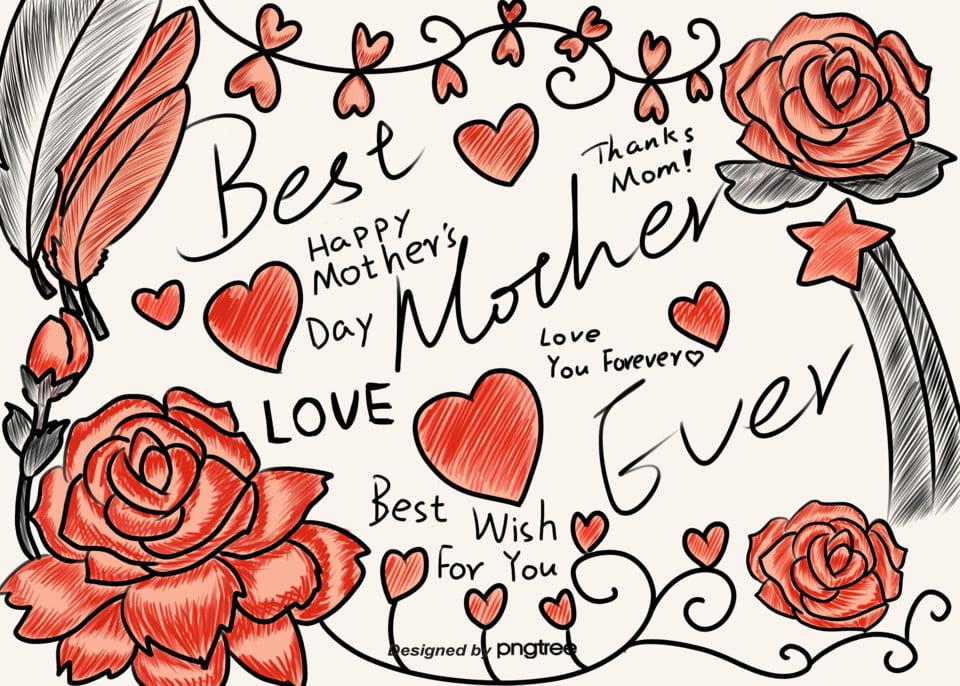 Disegno Di Un Cuore Rosa Dipinta A Mano Felice Festa Della Mamma