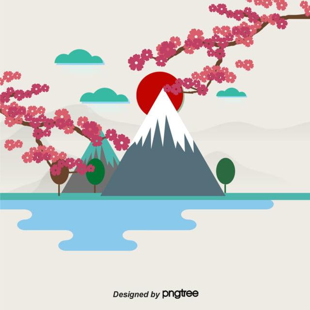 Estetika Peta Vektor Sederhana Bunga Sakura Di Gunung Fuji Jepang Fuji Vektor Gunung Bunga Sakura Gambar Latar Belakang Untuk Unduhan Gratis