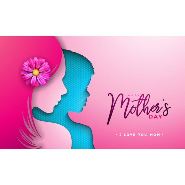 Brilliant Happy Mothers Day Greeting Card Design With Woman And Child Face Funny Birthday Cards Online Fluifree Goldxyz