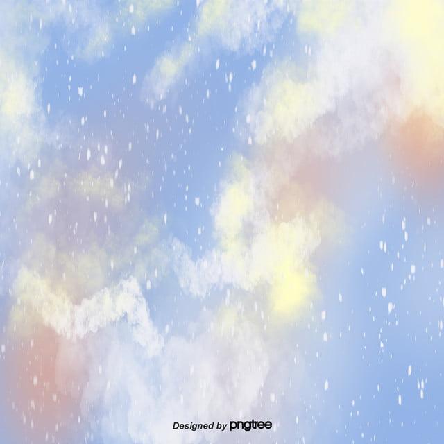 Cartoon Aesthetic Blue Smoke Blooming Sky Background Scenes Sky