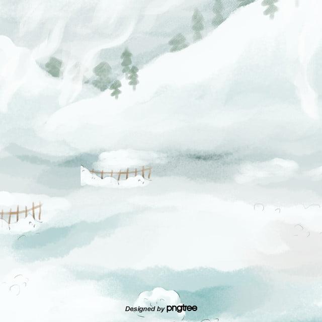 Hand Painted White Winter Scenery Background, Winter, Scenes