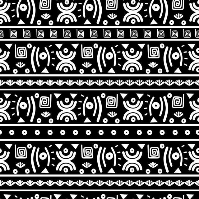 Modèle Ethnique Dessin Direct Main Fond Noir Et Blanc