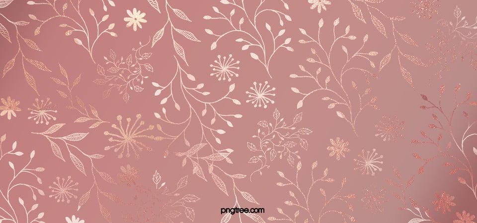 Elegant Rose Gold Ornamental Flower Plant Background Grace Leaf Business Background Image For Free Download