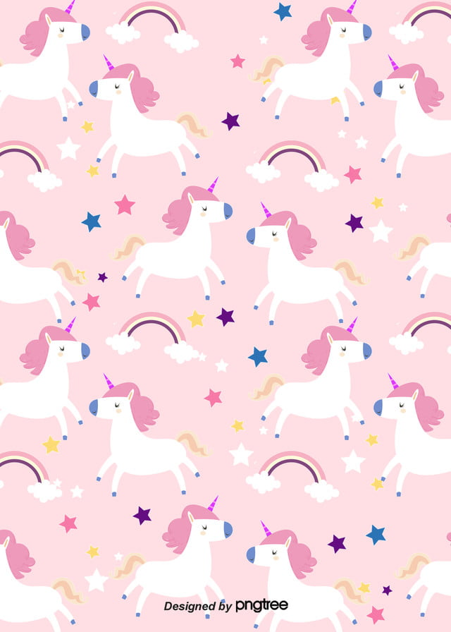Cartoon Unicorn Rainbow Patterns Background Cartoon Lovely Color Background Image For Free Download