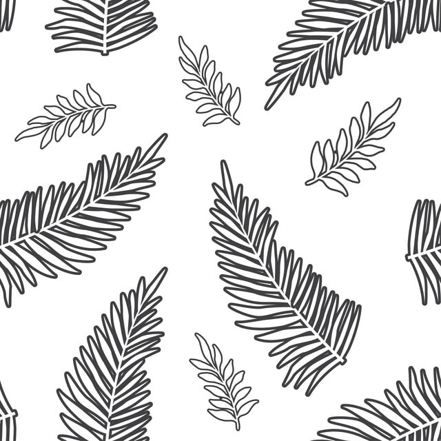 Leaf Outline Tropical Pattern Summer Outline Pattern Background Image For Free Download