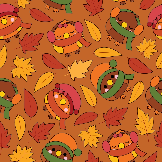 Seamless Pattern With Cute Birds And Maple Leaves On Brown