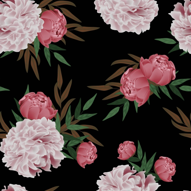 pngtree blooming peony floral seamless pattern black background image 283219