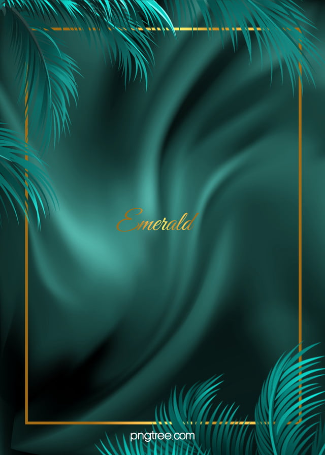 Minimalist Emerald Palm Wedding Silk Background Metal