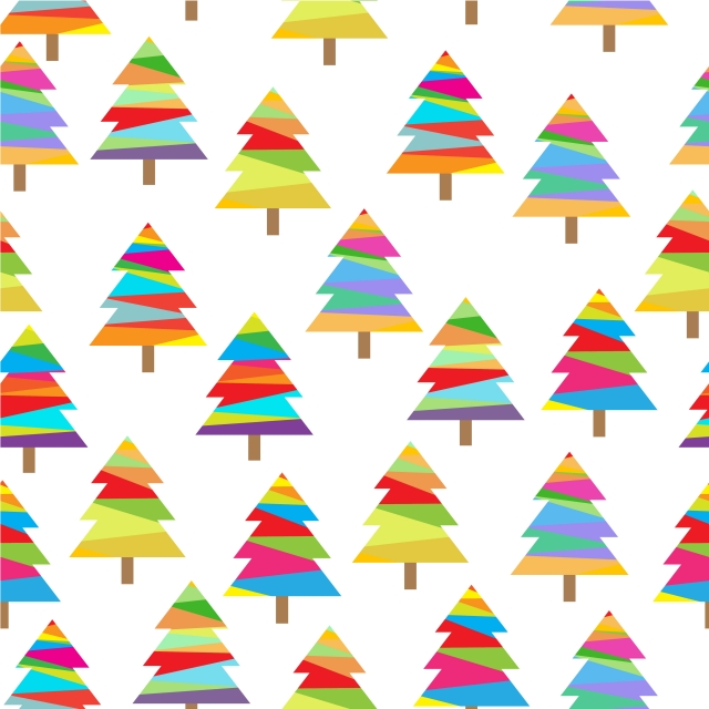 Seamless Pattern With Colorful Xmas Tree Cartoon