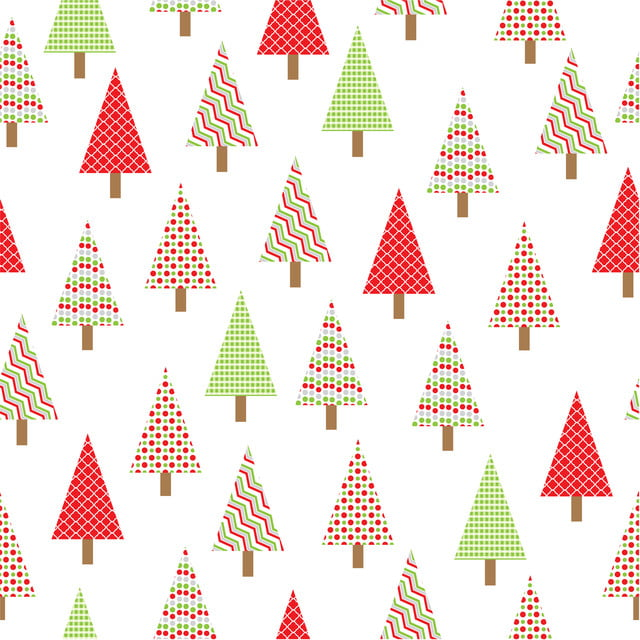 Seamless Pattern With Xmas Tree Retro Style Cartoon