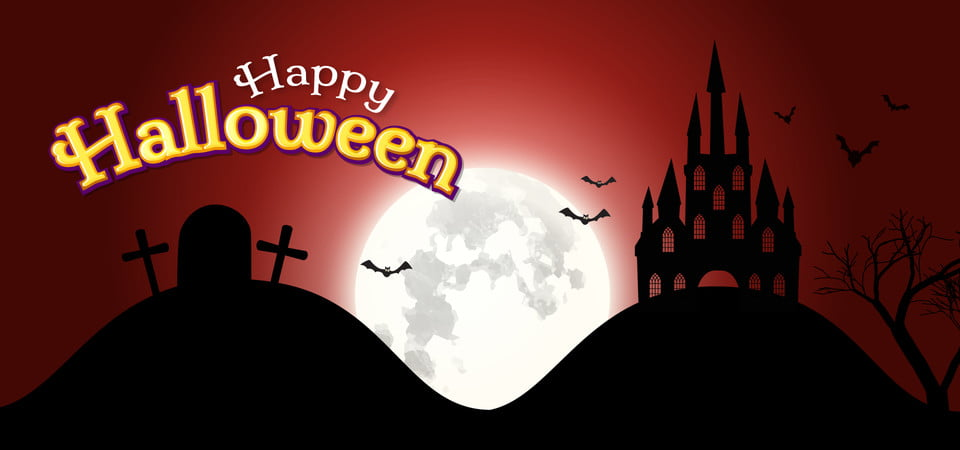 Halloween Spooky House.Happy Halloween Haunted House Night Moon Background