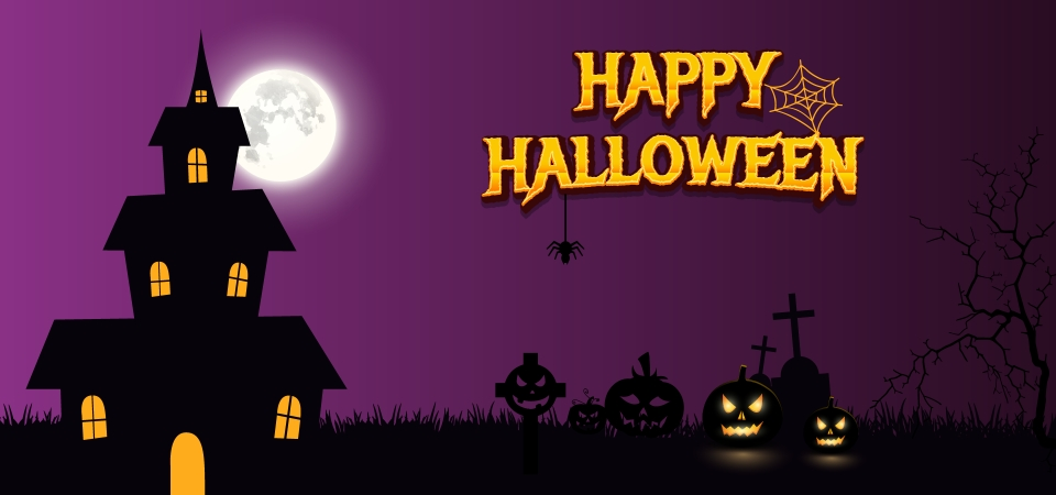 Happy Halloween Horror House With Pumpkin Background Halloween Scary Spooky Background Image For Free Download