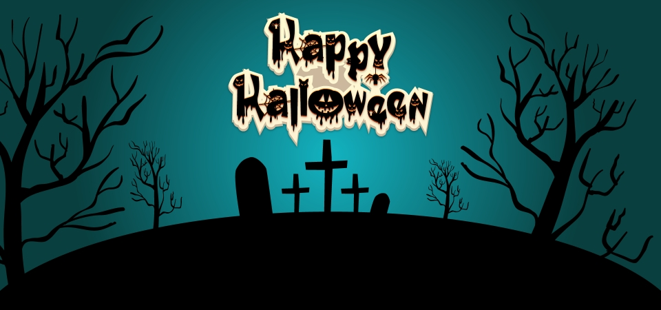 Happy Halloween Lettering With Night Background Halloween Horror Scary Background Image For Free Download