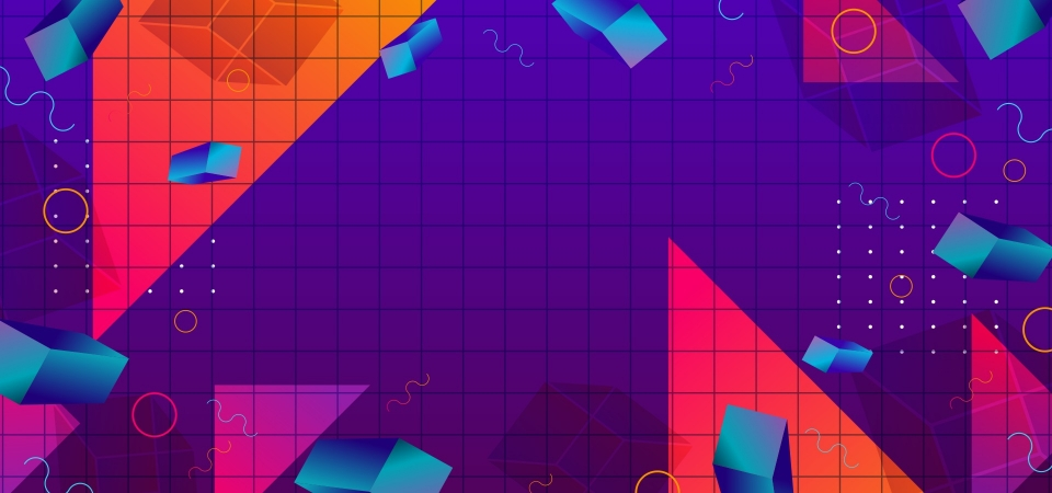 Colorful Abstract Geometric Background Memphis 80s