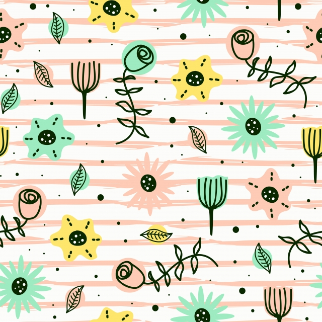 Cute Flowers Seamless Pattern Scandinavian Childish Drawing Style With Pastel Colors Background Pattern Wallpaper Seamless Background Image For Free Download