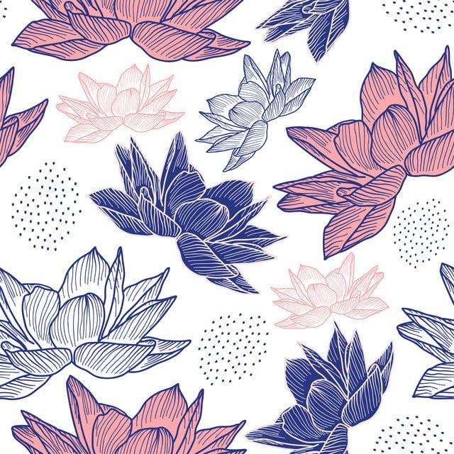 Fleur Dessin Modèle Sans Couture Avec Décoration Vintage