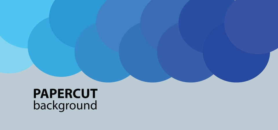 Papercut Background Circles Colored In Gradient Blue