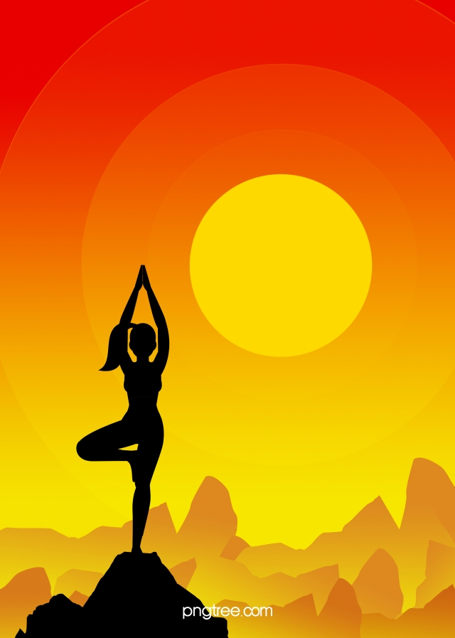 Yoga Sport Character Silhouette Background Yoga Motion Figure Silhouette Background Image For Free Download