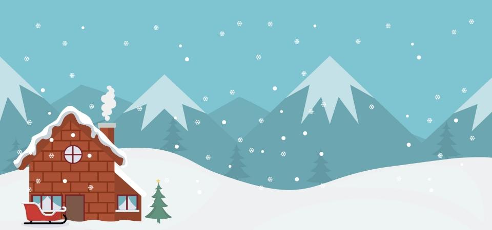 Fond De Carte De Paysage De Noël Avec Maison Et Traîneau, Noël