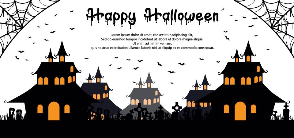 無料ダウンロードのためのシルエットお化け屋敷と墓地ハッピーハロウィン背景イラスト 10月 イラスト 背景の背景画像