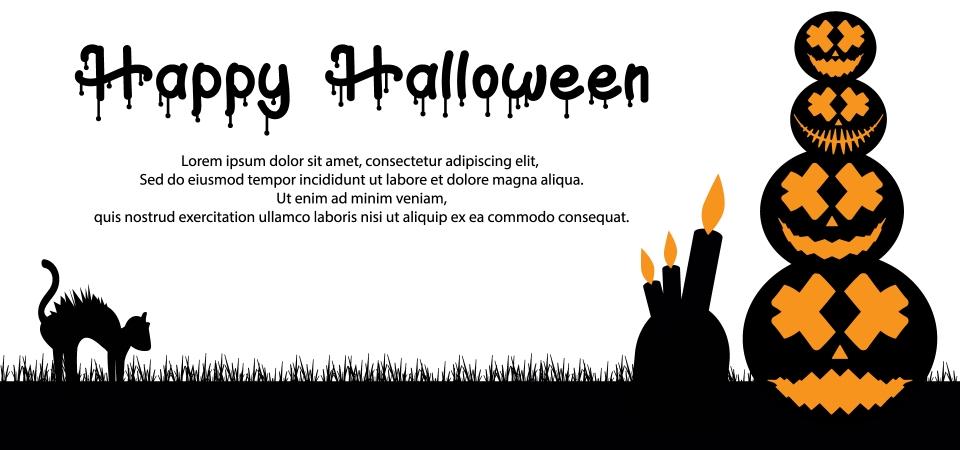 無料ダウンロードのためのシンプルなハロウィン背景カボチャと燃えているろうそく 10月 イラスト 背景の背景画像