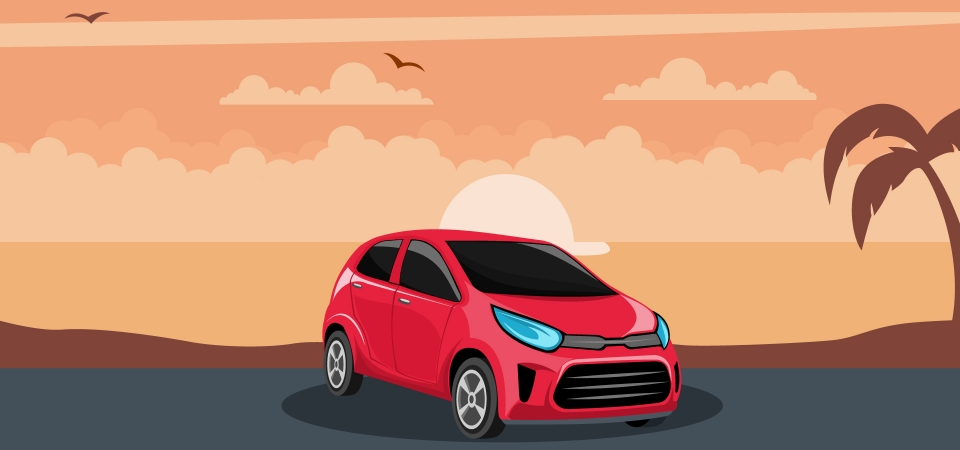 Red Car Background In A Sunset On The Beach Drive Car Cartoon Background Image For Free Download