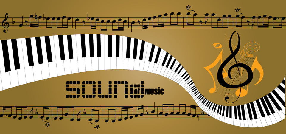 Gold Piano And Music Notes Background, Gold, Piano, Music