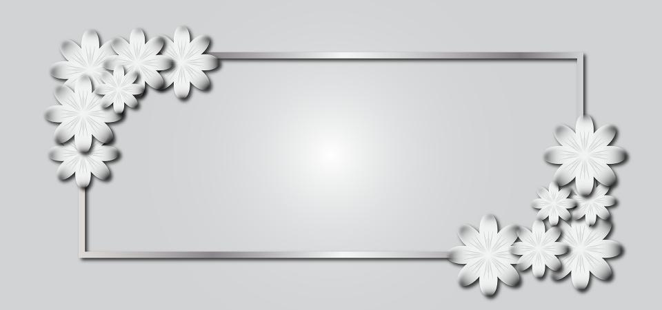 خلفية زهرة رمادية مع تصميم الإطار الفضي زهرة خلفية الخلفية الرمادية صورة الخلفية للتحميل مجانا