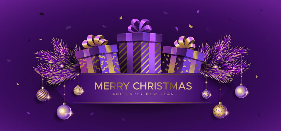 Christmas Background With Fir Branches And Gift Boxes On The Purple Background Merry Christmas Xmas Background Image For Free Download