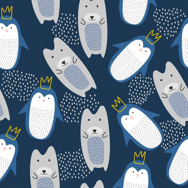 Funny Animal Pattern With Bear And Penguin Seamless Drawing