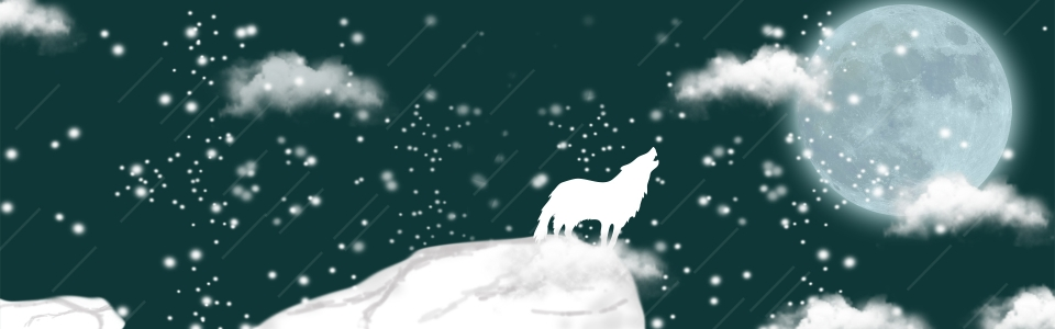 Wolf And Moon Dark Blue Background Wolf Moon Winter Background Image For Free Download