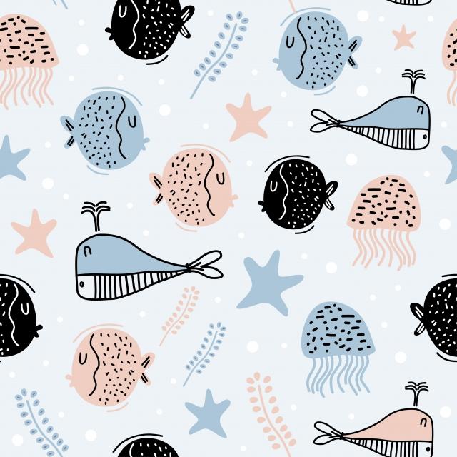 Monde Marin Mignon Avec Des Poissons étoiles Algues Et