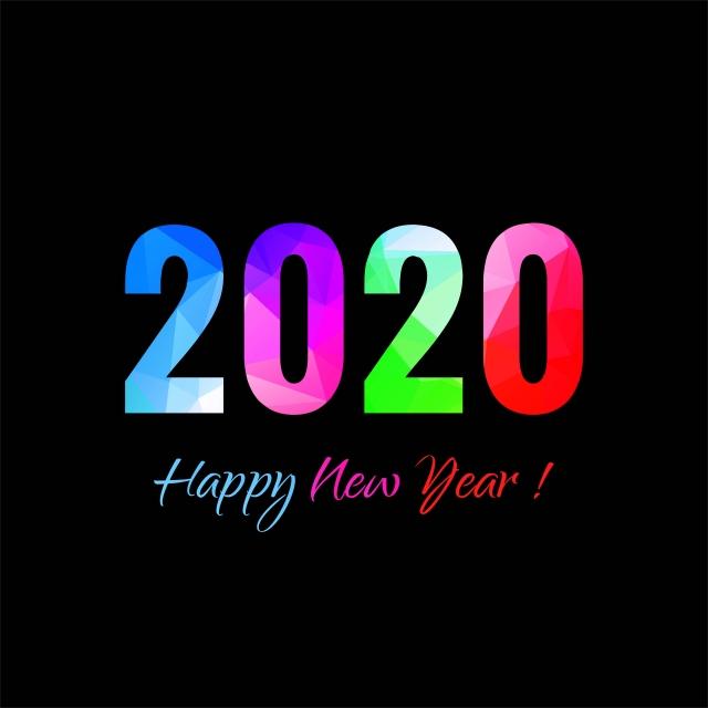 carte de voeux nouvel an 2020 Carte De Voeux Colorée 2020 Nouvel An Avec Le Vecteur De Fond Noir