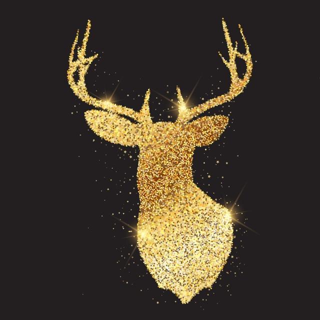 Tête De Cerf Or Scintillant Silhouette 1909 Deer Animal