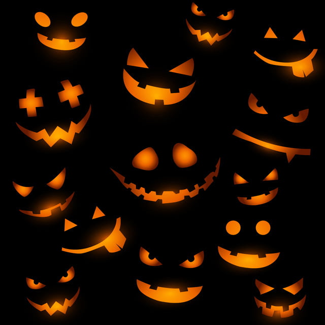 Halloween Background With Glowing Pumpkin Faces Halloween Vector Sky Background Image For Free Download