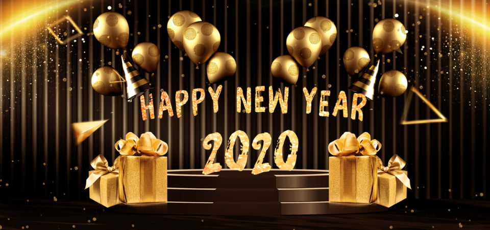 Happy New Year 2020 Background With Balloons And Gift Boxes