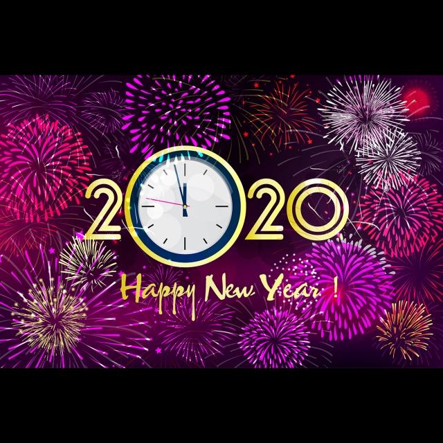 Calendrier Feu D Artifice 2020.Police D Horloge De Nouvel An Avec Fond Rose Feu D Artifice