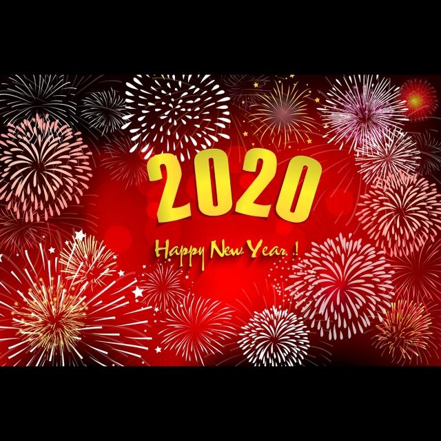 Calendrier Feu D Artifice 2020.Police D Horloge De Nouvel An Avec Fond Rouge Feu D Artifice